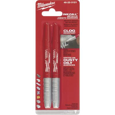 Milwaukee INKZALL Fine Point Silver Metallic Job Site Marker (2-Pack)