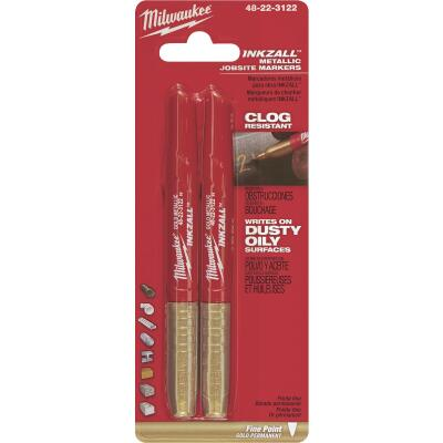 Milwaukee INKZALL Fine Point Gold Metallic Job Site Marker (2-Pack)
