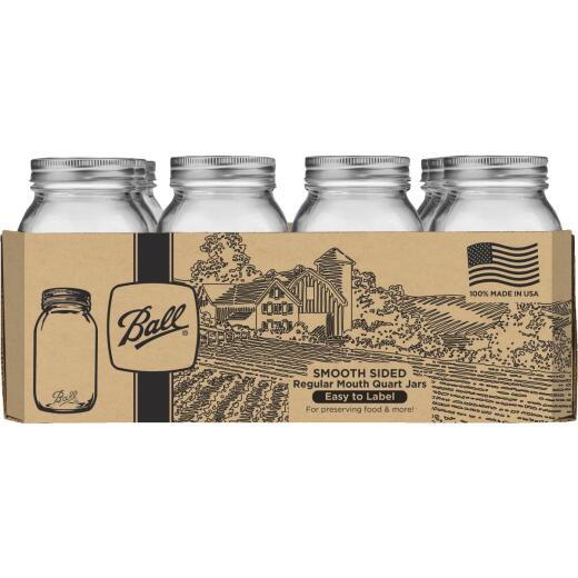 Ball Quart Regular Mouth Smooth-Sided Silver Lid Canning Jar (12-Count)